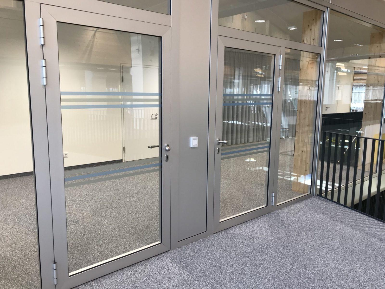 Glas Gegenlaufschutz Anlaufschutz DIN 32975 2-farbig Türen