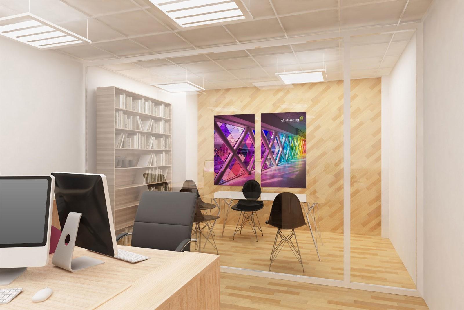 Sichtschutzfolien für Büros - Vorher Nachher